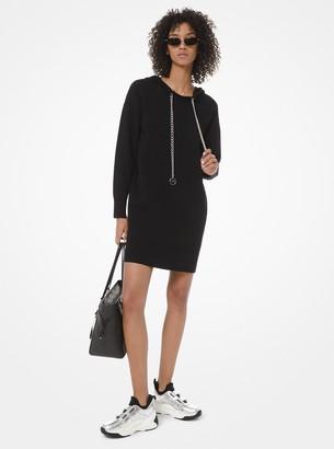 MICHAEL Michael Kors Logo Chain Stretch-Cotton Hoodie Dress