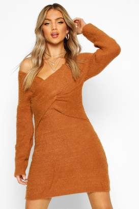 boohoo Fluffy Knit Wrap Front Mini Dress