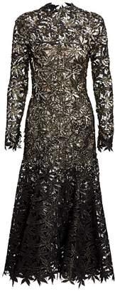 Oscar de la Renta Lace Long-Sleeve Trumpet Dress