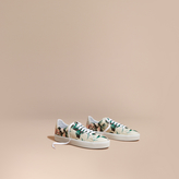 Burberry Peony Rose Print Canvas and Leather Trainers