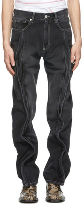 Y/Project Black Twisted Front Seam Jeans