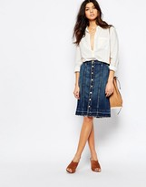 Current/Elliott Current Elliott Button Up Denim Midi Skirt With Released Hem