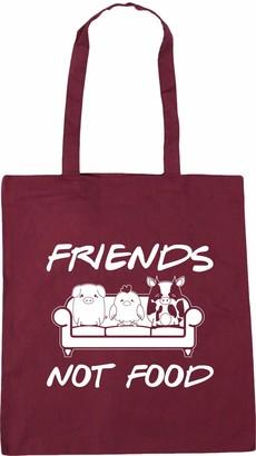 Hippowarehouse Friends not food - animal vegan vegetarian Tote Shopping Gym Beach Bag 42cm x38cm 10 litres