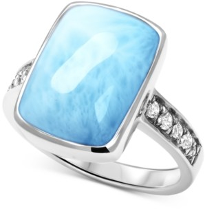 Marahlago Larimar (9 x 15mm) & White Sapphire (1/10 ct. t.w.) Statement Ring in Sterling Silver