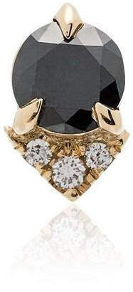 Lizzie Mandler Fine Jewelry Spike stud black diamond and diamond 18K yellow gold single earring