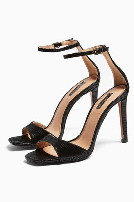 Topshop Womens Silvy Black Skinny Two Part Heel Sandals - Black