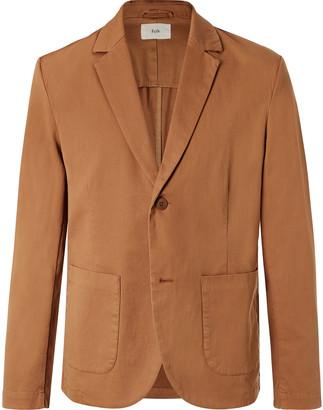 Folk Tan Garment-Dyed Stretch-Cotton Blazer