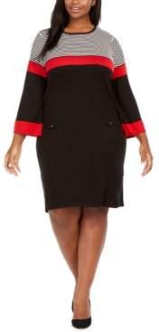 Jessica Howard Plus Size Striped Sweater Dress