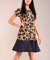 Lbisse Women's Casual Dresses Navy - Navy & Yellow Floral Cap-Sleeve Shift Dress - Women & Plus