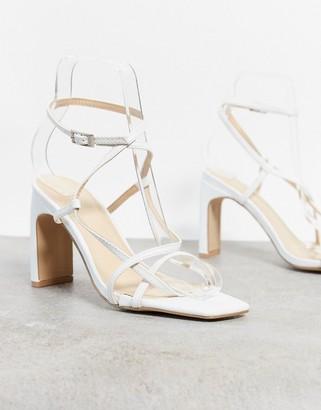 Pimkie square toe strappy low heel sandal in white