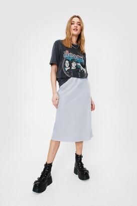 Nasty Gal Womens Sleek Your Options Open Satin Midi Skirt - Beige - 6