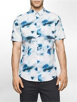 Calvin Klein Mens Classic Fit Abstract Cloud Short Sleeve Shirt