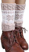 FAYBOX Women Short Knitted Christmas Leg Warmers Socks Boot Cuffs Snowflake NV