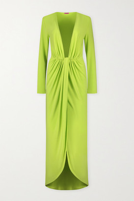 GAUGE81 Krasnodar Draped Stretch-jersey Maxi Dress - Sage green