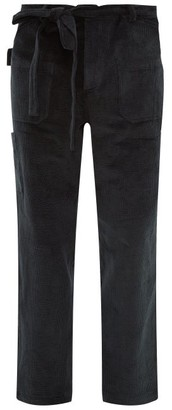 Deveaux - Cotton Blend Corduroy Straight Leg Cargo Trousers - Mens - Navy