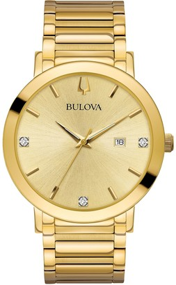 Bulova Men's Goldtone Diamond Accent Dial Watch