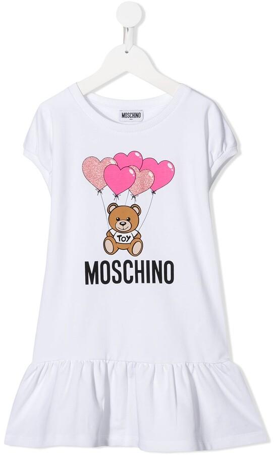 MOSCHINO BAMBINO Teddy Bear Logo Print Dress