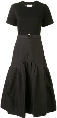 3.1 Phillip Lim Ss Belted Tshirt Dress W Shirred Skirt