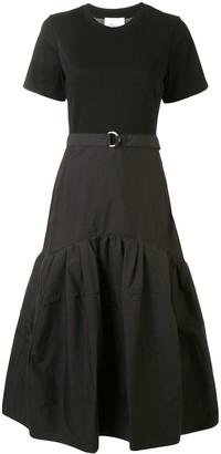3.1 Phillip Lim Ss Belted Tshirt Dress W Shirred Skirt