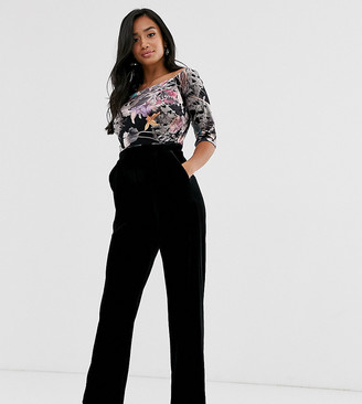 Little Mistress Petite bardot embroidered upper jumpsuit