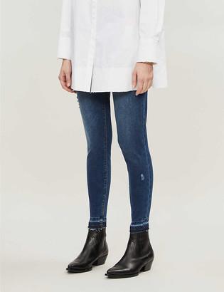 Spanx Distressed skinny high-rise stretch-denim jeans