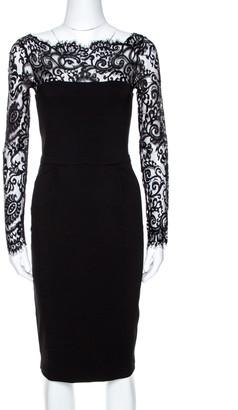 Gucci Black Knit Lace Trim Long Sleeve Sheath Dress XS