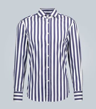 Brunello Cucinelli Slim-fit striped long-sleeved shirt