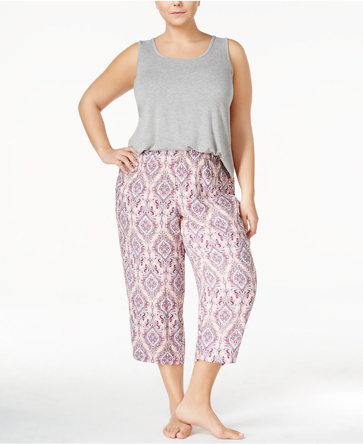 Alfani Plus Size Tank Top and Capri Pants Pajama Set, Created for Macy's