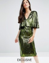 Club L Overlay Midi Dress In Sequin