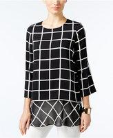 Alfani Printed Layered-Look Mixed-Media Tunic, Only at Macy's