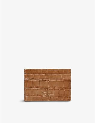 Smythson Mara crocodile-embossed leather card holder