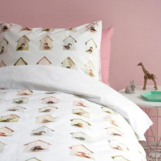 Snurk - Bird House Childrens Duvet Cover Set - white   soft cotton - White/White