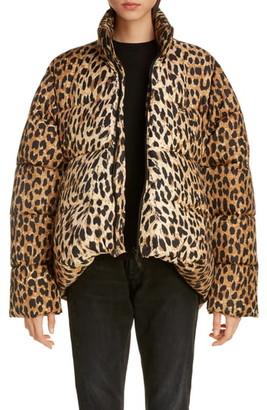 Balenciaga Leopard Print Nylon Cocoon Puffer Coat
