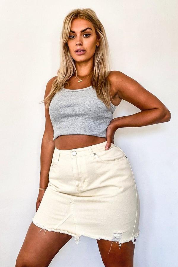 boohoo Plus Rip Distressed Ecru Denim Skirt
