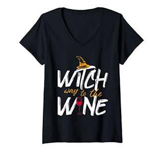 Womens Witch Way To The Wine - Halloween V-Neck T-Shirt