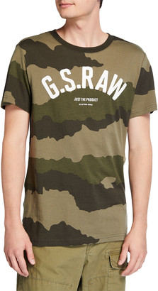 G Star Men's Camo-Print Typographic T-Shirt