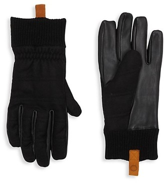 UGG Wool-Blend Leather Faux Fur-Lined Gloves