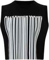 Alexander Wang Onyx Cropped Logo Barcode Tank