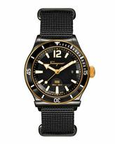 Salvatore Ferragamo 1898 Rotating Bezel Watch, Black/Gold