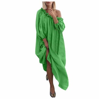 Fhuuly Women Summer Plus Size Loose Long Sleeve Dress Baggy Slit Strapless Retro Maxi Beach Dress (Green M)