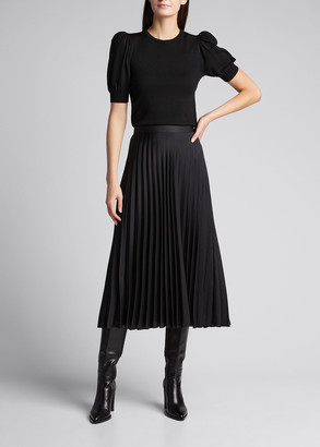 Alice + Olivia Chase Puff-Sleeve Sweater w/ Detachable Collar