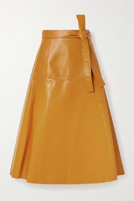 Oscar de la Renta Belted Leather Midi Skirt - Orange