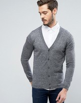 Asos Merino Wool Cardigan In Black Twist