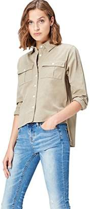 find. Women's Shirt Cotton with Drop Back Hem, Cropped Front and Long Sleeve,(Manufacturer size: XX-Large)