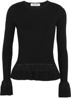 Diane von Furstenberg Ribbed-knit Peplum Sweater - Black
