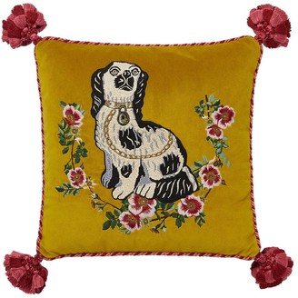 Gucci Dog Embroidered Velvet Pillow