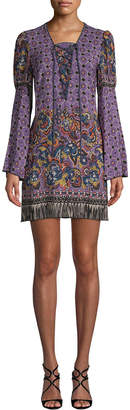 Anna Sui Paisley Fringe Border Silk Dress