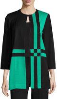 Misook Jordan Geometric-Print Jacket, Jade/Black