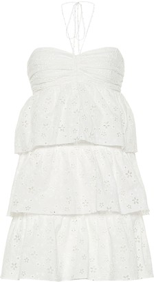 Saint Laurent Tiered cotton-blend minidress