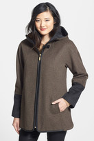 Ellen Tracy Faux Leather Trim Duffle Coat